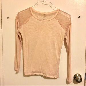 Light blush pink lace long sleeve tshirt